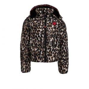 WE Fashion gewatteerde winterjas met panterprint en 3D applicatie bruin/zwart