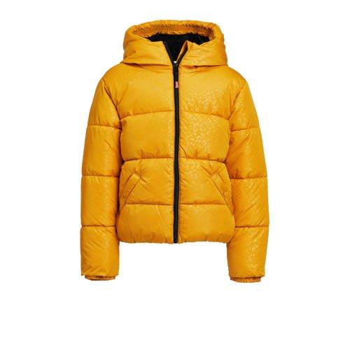WE Fashion gewatteerde winterjas met panterprint geel