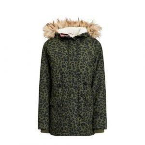 WE Fashion parka winterjas met panterprint groen