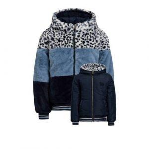 WE Fashion reversible imitatiebont winterjas lichtblauw/donkerblauw/wit