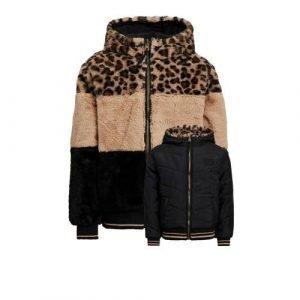 WE Fashion reversible imitatiebont winterjas met panterprint zwart/bruin