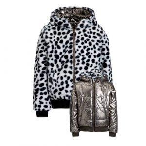 WE Fashion reversible imitatiebont winterjas zwart/wit/metallic