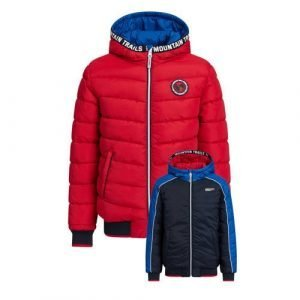 WE Fashion reversible winterjas donkerblauw/rood