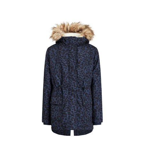 WE Fashion winterjas met panterprint donkerblauw