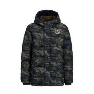 WE Fashion gewatteerde winterjas met camouflageprint army groen