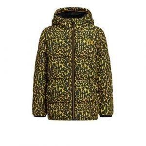 WE Fashion gewatteerde winterjas met panterprint geel/zwart