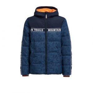 WE Fashion gewatteerde winterjas met contrastbies donkerblauw/blauw/wit