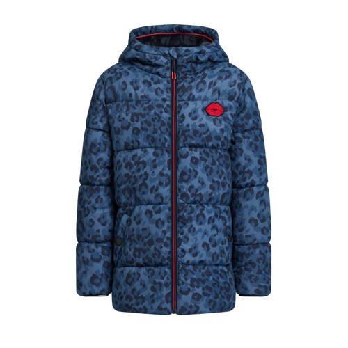 WE Fashion gewatteerde winterjas met panterprint donkerblauw