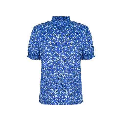 Indian Blue Jeans top met panterprint hardblauw