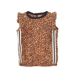 Koko Noko T-shirt met panterprint en contrastbies oranje/zwart/wit