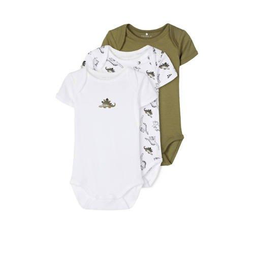 NAME IT BABY newborn baby romper - set van 3 dino's groen/wit