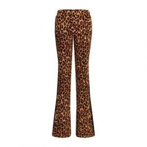 WE Fashion flared broek met panterprint bruin