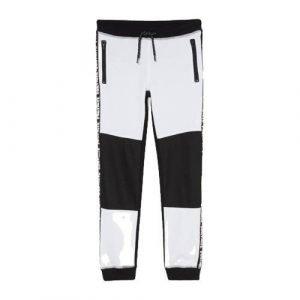 C&A joggingbroek met zijstreep wit/zwart
