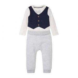 C&A newborn baby romper + joggingbroek ecru/licht grijs melange/donkerblauw