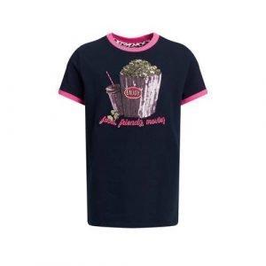 WE Fashion T-shirt met contrastbies en pailletten donkerblauw