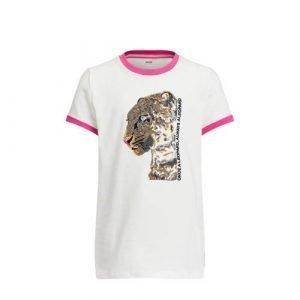 WE Fashion T-shirt met contrastbies en pailletten wit