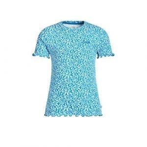 WE Fashion T-shirt met panterprint en textuur blauw/wit
