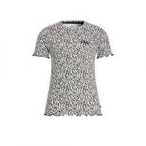 WE Fashion T-shirt met panterprint en textuur zwart/ecru