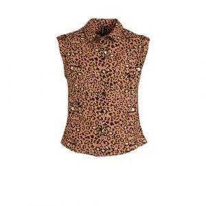 Zigga blouse met panterprint lichtroze/zwart/geel