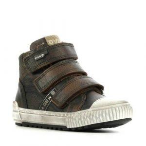 Develab 41669 hoge leren sneakers met klittenband bruin