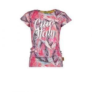 Vingino T-shirt Hilla met all over print roze/wit