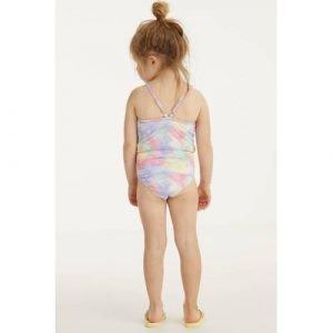 BEACHWAVE baby girl badpak met pastelprint roze/lila