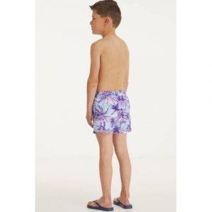 BEACHWAVE jongens zwemshort met palmboom print turquoise/paars