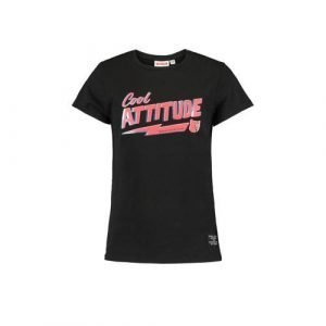 CoolCat Junior T-shirt Elly met tekst zwart