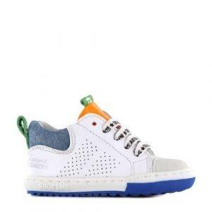 Shoesme EF21S012-A leren sneakers wit/blauw