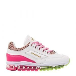 Vingino Fenna II leren sneakers met panterprint wit/roze