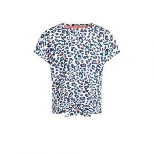 WE Fashion T-shirt met panterprint blauw/wit/roze