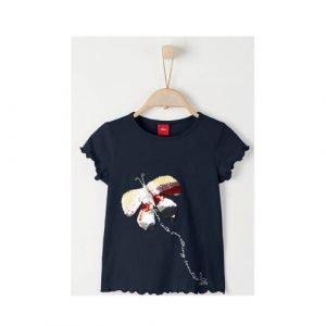 s.Oliver T-shirt met dierenprint en pailletten donkerblauw