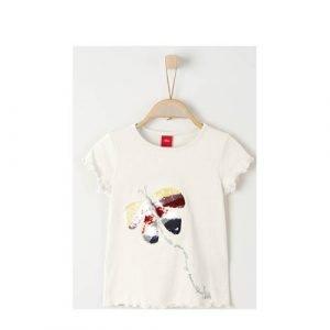 s.Oliver T-shirt met dierenprint en pailletten ecru