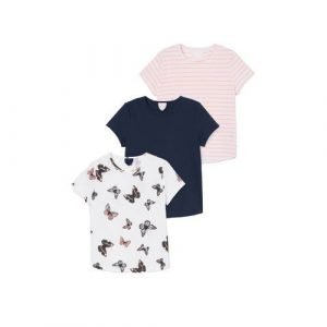 C&A T-shirt - set van 3 blauw/roze/wit