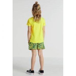 KIDS ONLY short Nellie met panterprint neon geel/blauw/zwart