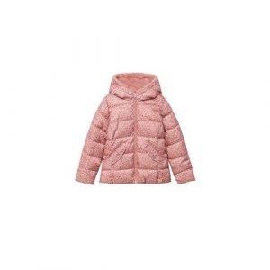 Mango Kids winterjas met panterprint roze/wit