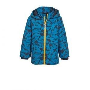 NAME IT MINI zomerjas Max met all over print blauw/zwart/geel