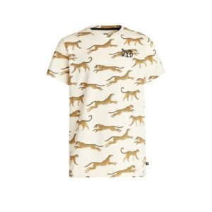 WE Fashion T-shirt met panterprint ecru/beige