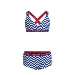 WE Fashion bikini met all over print blauw/wit/rood
